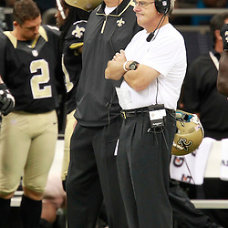 August 25, 2012; New Orleans, LA, USA; New Orleans Saints offensive line and running game coordinator Aaron Kromer and New Orleans Saints assistant head coach and linebackers coach Joe Vitt during the second half of a preseason game against the Houston Texans at the Mercedes-Benz Superdome. The Saints defeated the Texans 34-27.  Mandatory Credit: Derick E. Hingle-US PRESSWIRE