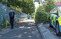 © Licensed to London News Pictures. 22/06/2018. Chelmsford, UK. Police at the scene where a man has died after being found with severe injuries on Cromar Way, Chelmsford, Essex. A murder investigation has been launched. Photo credit: Simon Ford/LNP
