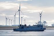 The Borkum Ferry arriving in the port of Eemshaven, Netherlands.
