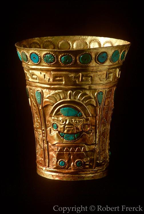 PERU, PRECOLUMBIAN GOLD Chimu; vessel of gold, turquoise