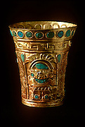 PERU, PRECOLUMBIAN GOLD Chimu; vessel of gold, turquoise