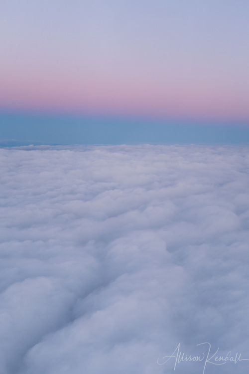 Aerial view of soft clouds in early sunrise light