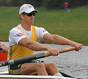 Munich, GERMANY, 31.08.2007,  AUS M8+,stroke James TOMPKINS and Marty RABJOHNS. beforethe start in their Semi Final. Sixth day, at the 2007 World Rowing Championships, taking place on the   Munich Olympic Regatta Course, Bavaria. [Mandatory Credit. Peter Spurrier/Intersport Images].... , Rowing Course, Olympic Regatta Rowing Course, Munich, GERMANY