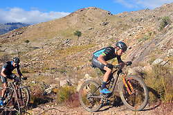 WELLINGTON SOUTH AFRICA - MARCH 22: From front, Erik Kleinhans and Jerimiah Bishop during stage three's 111km from Wellington to Worcester on March 22, 2018 in Western Cape, South Africa. Mountain bikers gather from around the world to compete in the 2018 ABSA Cape Epic, racing 8 days and 658km across the Western Cape with an accumulated 13 530m of climbing ascent, often referred to as the 'untamed race' the Cape Epic is said to be the toughest mountain bike event in the world. (Photo by Dino Lloyd)