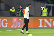 England forward Marcus Rashford in warm up during the Friendly match between Netherlands and England at the Amsterdam Arena, Amsterdam, Netherlands on 23 March 2018. Picture by Phil Duncan.