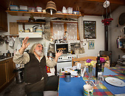 Cooking lunch, in the kitchen of Thomas Venakis, who grows his own vegetables, in Zouridi village.