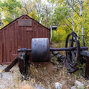 The Historic Knight Wheel is situated along the Mammoth Lakes Town Bike Loop.