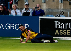 Lukas Carey of Glamorgan catches DJ Lincoln of Middlesex<br /> <br /> Photographer Simon King/Replay Images<br /> <br /> Vitality Blast T20 - Round 4 - Glamorgan v Middlesex - Friday 26th July 2019 - Sophia Gardens - Cardiff<br /> <br /> World Copyright © Replay Images . All rights reserved. info@replayimages.co.uk - http://replayimages.co.uk