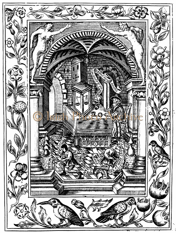 Thomas Norton's (fl1477) laboratory. Engraving after manuscript in British Museum, London, which is probably earliest illustration of balance in glass case. From Elias Ashmole 'Theatrum Chemicum Britannicum' London 1652. Engraving.