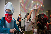 Around 40 activists dressed as animals invaded the PR firm Bell Pottinger My 11th, 2017, in central London, United Kingdom.  The activists want to ecxpose the companys ties with thefracking industry as part of a long running campaign against fracking by the activist group Reclaim the Power called Break the Chain.<br /> The activist spend a short while in the lobby  with zebras throwing leaves, monkeys spreading animal manure and a squid spraying 'ink' on the windows before leaving peacefully.<br /> Bell Pottinger currently represent Centrica which is a major fracking investor in the UK according to the groups press release and the company has in the past helped the fracking company Quadrilla restore their reputation, also according to the press release.