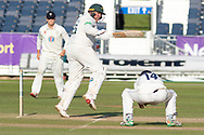 Mark Cosgrove keeps a short one away from Cameron Steel during the Specsavers County Champ Div 2 match between Durham County Cricket Club and Leicestershire County Cricket Club at the Emirates Durham ICG Ground, Chester-le-Street, United Kingdom on 19 August 2019.