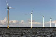 Nederland, the Netherlands, 18-2-2016   NOP Agrowind, energiebedrijf RWE Essent en Westermeerwind bouwen een windpark op land en in het water van het IJsselmeer. De stroomproducent bouwt hier windmolens die  5 megawatt op land, en 3 megawatt op zee produceren. Siemens levert en installeert de turbines. Het bedrijf Turbine Transfers verzorgt met snelle bootjes de aan en afvoer van personeel dat op de werkschepen in in de turbines moet werken.Windfarm in the Flevopolder and the IJsselmeer. FOTO: FLIP FRANSSEN/ HH