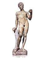 Statue of Adonis - Tis antique statue was completely restored in the 16th century by Francois Du Quesnoy for the collection of Cardinal Mazarin. The Mazarin Collection Inv No. MR 239, Louvre Museum, Paris. .<br /> <br /> If you prefer to buy from our ALAMY STOCK LIBRARY page at https://www.alamy.com/portfolio/paul-williams-funkystock/greco-roman-sculptures.html- Type -    Louvre    - into LOWER SEARCH WITHIN GALLERY box - Refine search by adding a subject, place, background colour,etc.<br /> <br /> Visit our CLASSICAL WORLD HISTORIC SITES PHOTO COLLECTIONS for more photos to download or buy as wall art prints https://funkystock.photoshelter.com/gallery-collection/The-Romans-Art-Artefacts-Antiquities-Historic-Sites-Pictures-Images/C0000r2uLJJo9_s0c