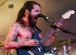 Simon Neil of Biffy Clyro performing on the Pyramid Stage at Glastonbury Festival, at Worthy Farm in Somerset.
