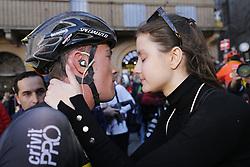 March 9, 2019 - Siena, Italy - Belgian Yves Lampaert of Deceuninck - Quick-Step and his partner after the Strade Bianche one day cycling race in Siena, Italy, Saturday 09 March 2019...BELGA PHOTO YUZURU SUNADA (Credit Image: © Yuzuru Sunada/Belga via ZUMA Press)