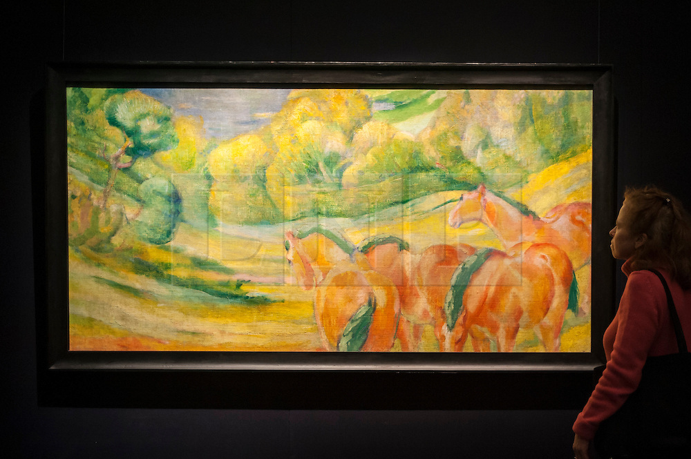 """© Licensed to London News Pictures. 28/01/2016. London, UK.   """"Grosse Landschaft I (Large Landscape 1)"""" by Franze Marc (est. £4-6m), on display at Sotheby's preview of its upcoming Impressionist, Modern & Surrealist art sale on 3 February featuring works by some of the most important artists of the 20th century.  The combined total of the evening sale is expected to exceed £100m. Photo credit : Stephen Chung/LNP"""