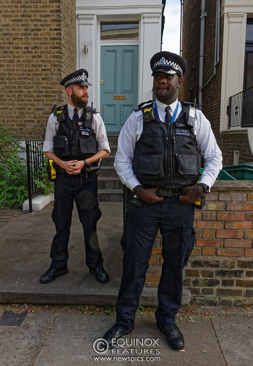 London, United Kingdom - 26 May 2020<br /> The scene at Dominic Cummings home in North London today where the police monitored the street and two or three supporters turned up to support of him as he arrived home. Islington, London, England, UK.<br /> **VIDEO AVAILABLE**<br /> (photo by: EQUINOXFEATURES.COM)<br /> Picture Data:<br /> Photographer: Equinox Features<br /> Copyright: ©2020 Equinox Licensing Ltd. +443700 780000<br /> Contact: Equinox Features<br /> Date Taken: 20200526<br /> Time Taken: 18052848<br /> www.newspics.com