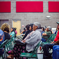 Community members and board candidates attend a Gallup McKinley County Schools board meeting at Crownpoint Elementary School Tuesday.