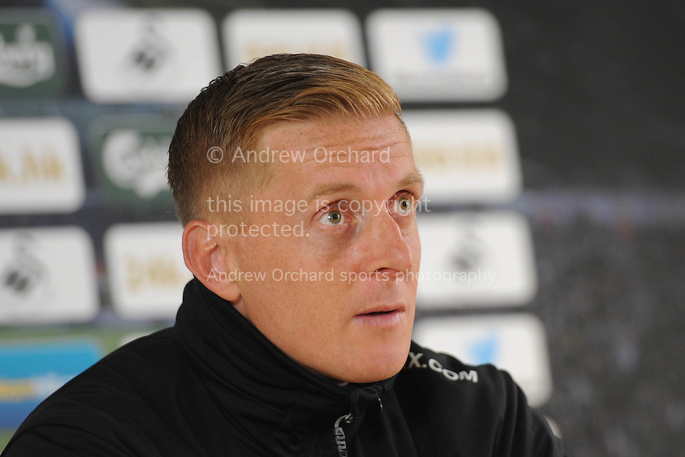 Garry Monk speaking at the Swansea city pre-match press conference, looking ahead to this Sunday's Barclays premier league match at Stoke city in Swansea, South Wales on Friday 17th Oct 2014.<br /> pic by Phil Rees, Andrew Orchard sports photography.