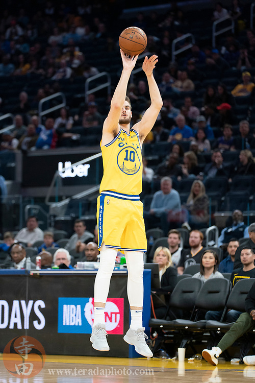 February 27, 2020; San Francisco, California, USA; Golden State Warriors forward Dragan Bender (10) shoots the basketball during the fourth quarter against the Los Angeles Lakers at Chase Center.