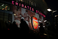 General view of fans arriving at the Emirates Stadium ahead of the match
