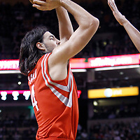 06 March 2012: Houston Rockets power forward Luis Scola (4) takes a jumpshot during the Boston Celtics 97-92 (OT) victory over the Houston Rockets at the TD Garden, Boston, Massachusetts, USA.