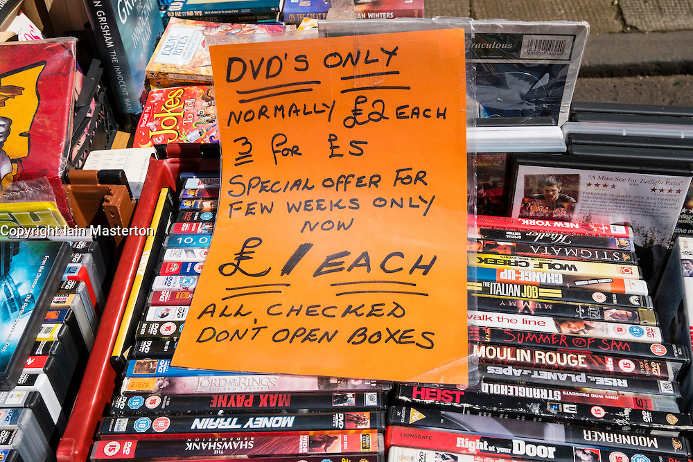 Second hand DVDs for sale a Barras market in Gallowgate Glasgow Scotland United Kingdom