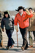 US President George HW Bush takes a winter walk January 2, 1993 in Moscow, Russia. The President is visiting Moscow to sign the START II Treaty.