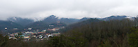 Panoramic aerial view of Gatlinburg during winter time
