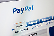 Computer screen showing the website for online secure money payment company Pay Pal