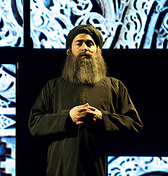 Another World <br /> Losing Our Children To Islamic State <br /> directed by Nicholas Kent <br /> at Temporary Theatre, National Theatre, Southbank, London, Great Britain<br /> Press photocall <br /> 14th April 2016 <br /> <br /> Nabil Elouahabi as Bagdhadi<br /> <br /> <br /> <br /> <br /> Photograph by Elliott Franks <br /> Image licensed to Elliott Franks Photography Services