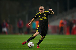 BRAGA, PORTUGAL, Thursday, March 10, 2011: Liverpool's Jay Spearing in action against Sporting Clube de Braga during the UEFA Europa League Round of 16 1st leg match at the Estadio Municipal de Braga. (Photo by David Rawcliffe/Propaganda)