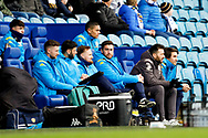 Leeds United bench during the U23 Professional Development League match between U23 Sheffield Wednesday and U23 Leeds United at Hillsborough, Sheffield, England on 3 February 2020.