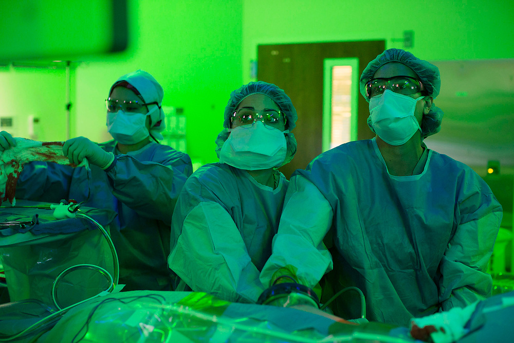 inside the OR during and operation to remove the kidney from a doner during a kidney swap at Northwestern Memorial Hospital