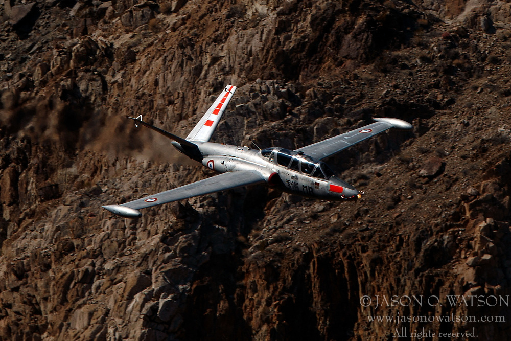Fouga CM-170 Magister (N315MB) flies low level on the Jedi Transition through Star Wars Canyon / Rainbow Canyon, Death Valley National Park, Panamint Springs, California, United States of America