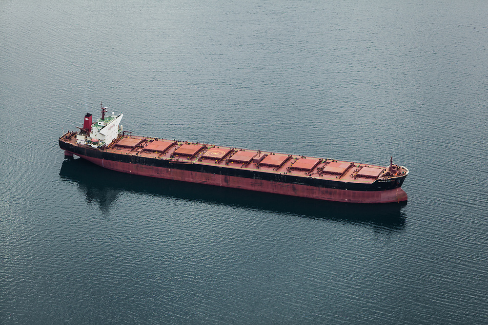 AUGUST 15TH, 2013, NARVIK, NORWAY - The bulk carrier «Castillo de Valverde» is at Narvik harbour, waiting for iron ore.