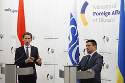 June 7, 2017 - Kiev, Ukraine - Ukrainian Foreign Minister Pavlo Klimkin (R) and the Organization for Security and Co-operation in Europe (OSCE) chairman, Austrian Foreign Minister Sebastian Kurz (L) take a part at a press-conference, during their meeting in Kiev, Ukraine, 07 June 2017. Sebastian Kurz arrived in Kiev on 07 June for a two day working visit. (Credit Image: © Str/NurPhoto via ZUMA Press)