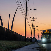 The 16H bus rolls up Columbia Pike near the Air Force Memorial on Tuesday, Sept. 3, 2019 in Arlington. (Photo by Jay Westcott/ARLNow)