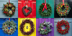 Edinburgh, Scotland, UK. 6 December 2020. A great variety of traditional Christmas wreaths adorning front doors of Georgian townhouses in Edinburgh's historic New Town.  Iain Masterton/Alamy Live News