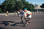 Washington, DC 1996/08/01 A hocky game on the closed portion of Pennsylvania Avenue from 15th to 17th Streets NW<br />Photo by Dennis Brack