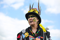 © Licensed to London News Pictures. 14/05/2016. Newark, UK. Pat Benson of the Poacher Morris group in costume at the 2016 Nottinghamshire County Show at Newark Showground. Photo credit : Ian Hinchliffe/LNP
