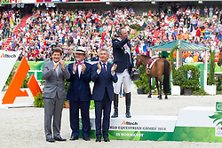 Patrice Delaveau and Orient Express HDC win silver individual jumping - Show Jumping Final Four - Alltech FEI World Equestrian Games™ 2014 - Normandy, France.<br />