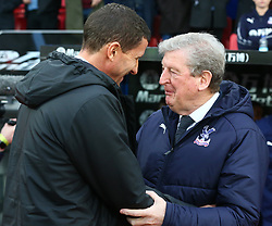 January 12, 2019 - London, England, United Kingdom - London, England - 12 January, 2019.Crystal Palace manager Roy Hodgson  have words with Watford manager Javi Gracia .during English Premier League between Crystal Palace and Watford at Selhurst Park stadium , London, England on 12 Jan 2019. (Credit Image: © Action Foto Sport/NurPhoto via ZUMA Press)
