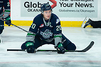 KELOWNA, BC - JANUARY 24: Conner Bruggen-Cate #20 of the Seattle Thunderbirds stretches on the ice during warm up against the Kelowna Rockets at Prospera Place on January 24, 2020 in Kelowna, Canada. (Photo by Marissa Baecker/Shoot the Breeze)