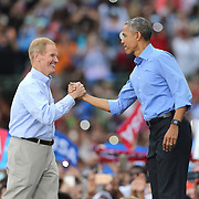 Senator Bill Nelson greets President Barack Obama before he campaigns for Democratic nominee Hillary Clinton at Osceola Park in Kissimmee Florida USA  06 Nov 2016