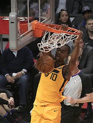 November 30, 2017 - Los Angeles, California, United States of America - Alec Burks #10 of the Utah Jazz dunks the ball during their game with the Los Angeles Clippers on Thursday November 30, 2017 at the Staples Center in Los Angeles, California. Clippers lose to Jazz, 126-107. JAVIER ROJAS/PI (Credit Image: © Prensa Internacional via ZUMA Wire)