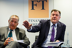 © Licensed to London News Pictures. 19/01/2015. LONDON, UK. UK launch of the Commission on Inclusive Prosperity's report takes place at Financial Times HQ in London with Ed Balls, Labour's Shadow Chancellor (R) and Larry Summers, former US Treasury Secretary and former Director of the National Economic Council for President Obama (L). Photo credit : Tolga Akmen/LNP