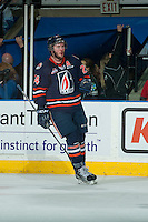 KELOWNA, CANADA - MARCH 26: Ryan Rehill #24 of Kamloops Blazers celebrates a goal against the Kelowna Rockets on March 26, 2016 at Prospera Place in Kelowna, British Columbia, Canada.  (Photo by Marissa Baecker/Shoot the Breeze)  *** Local Caption *** Ryan Rehill;