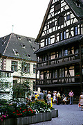 Historic half-timbered medieval buildings in city centre of Strasbourg, Alsace, France 1974