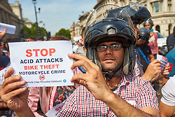 © Licensed to London News Pictures. 18/07/2017. LONDON, UK.  Delivery drivers protest in Parliament Square following a spate of acid attacks and to highlight the ongoing problem of moped thefts. Politicians are considering introducing a range of measures to tackle the problem including increasing sentences for those convicted. Photo credit: Cliff Hide/LNP